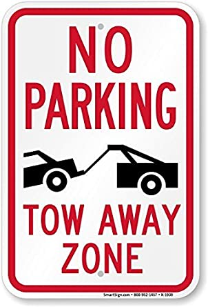 No Parking Tow Away Zone (Tow Truck Symbol) Sign, 12