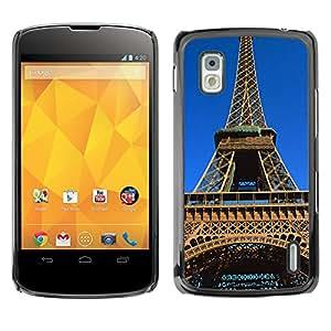 - Paris Eiffel Tower - - Monedero pared Design Premium cuero del tir¨®n magn¨¦tico delgado del caso de la cubierta pata de ca FOR LG Goole Nexus 4 E960 Funny House