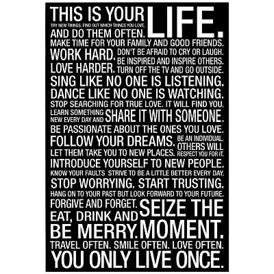 This Is Your Life Motivational Quote Poster 60x60 Cm Amazoncouk Beauteous This Is Your Life Quote Poster