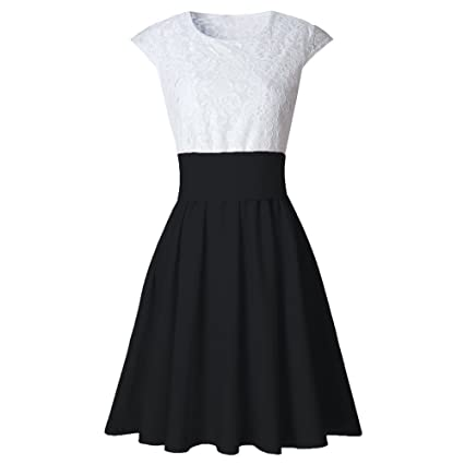 Image Unavailable. Image not available for. Color  Clearance Dress Thenlian Womens  Lace Party Cocktail Mini Dress Ladies Summer Short Sleeve Skater Dresses ... 01394133a