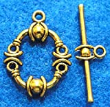 10Sets Tibetan Ornate Antique Gold Round Toggle Clasps Jewelry Findings C048 Crafting Key Chain Bracelet Necklace Jewelry Accessories Pendants