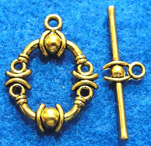 10Sets Tibetan Ornate Antique Gold Round Toggle Clasps Jewelry Findings C048 Crafting Key Chain Bracelet Necklace Jewelry Accessories -