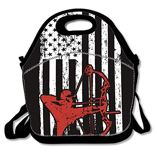 Bow Hunting Outdoors Usa Flag Pride Hand Lunch Bags Insulated Thermal Cooler Outdoor School Office Travel Picnic Lunch Box Tote Handbag Teens Kids Adults