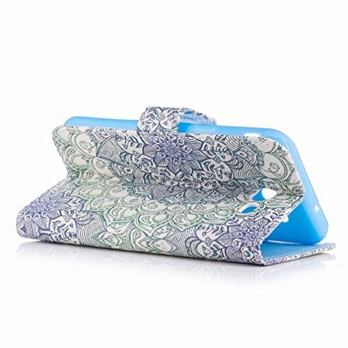 Yiizy Samsung Galaxy J3 Prime Custodia Cover, Di Fiore Verde Design Sottile Flip Portafoglio PU Pelle Cuoio Copertura Shell Case Slot Schede Cavalletto Stile Libro Bumper Protettivo Borsa