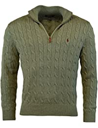 Men's Cable-Knit Half-Zip Mock Neck Sweater Pullover