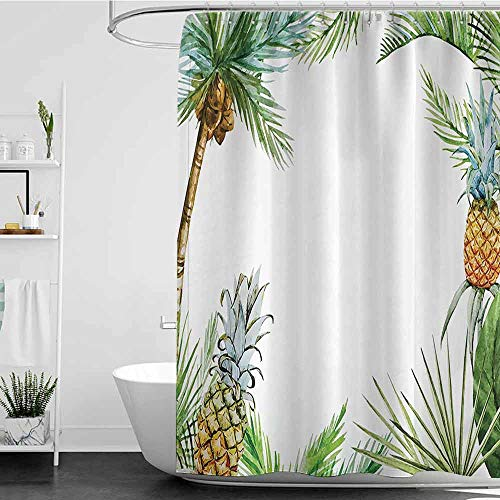 branddy Shower Curtains Black Woman Pineapple Decor,Watercolor Tropical Island Style Border Print with Exotic Fruit Palm Trees and Leaves,Multi W72 x L96,Shower Curtain for Women