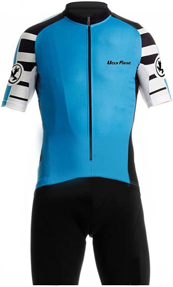 Uglyfrog Designs Summer Mens Premium Padded Triathlon Tri Suit Compression Duathlon Cycling Skinsuit Short Sleeve Top+Short Legs