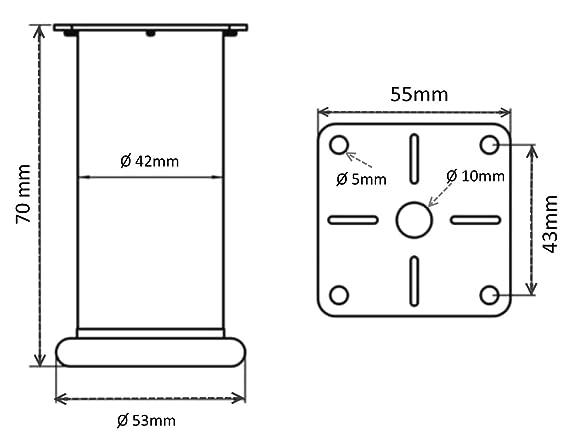 Altura: 50mm 4x Patas pies ajustables regulables para muebles /Ø42mm plata mate AERZETIX