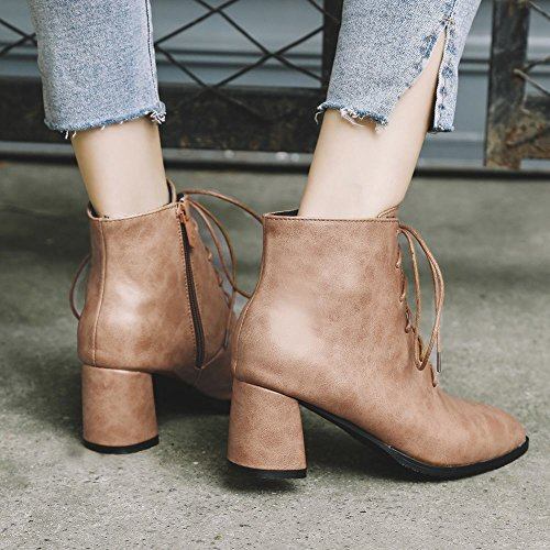 Charm Foot Womens Western Lace Up Chunky Tacco Alto Stivaletti Giallo Marrone