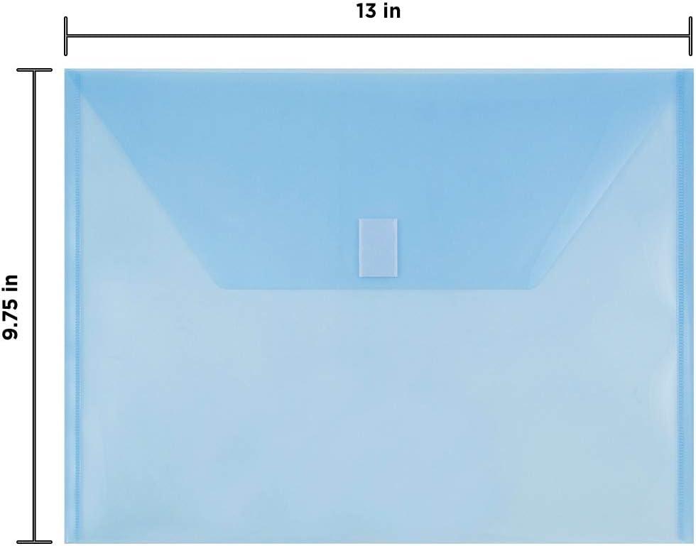 JAM PAPER Plastic Envelopes with Hook /& Loop Closure 12//Pack Smoke Gray Letter Booklet 9 3//4 x 13