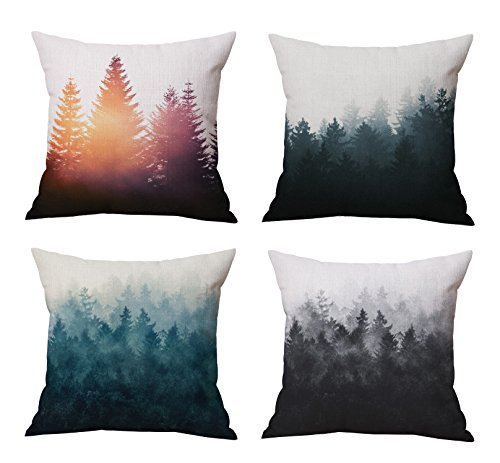 - The Foggy and Sunshine Forest Trees Throw Pillow Covers Set Cushion Covers Home Decoration Cotton Linen 18 x 18 Inch Set of 4