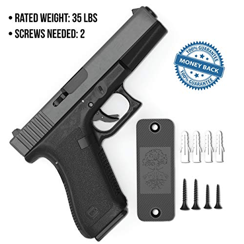 OSCAR TREE ELEVEN CO. Gun Magnet Mount - Holsters Handguns, Pistols, Shotguns, Rifles up to 35 lbs for Easy and Quick Access - Anti-Scratch Rubber Layer - Use Anywhere: Car/Truck, Walls, Desk, Bed