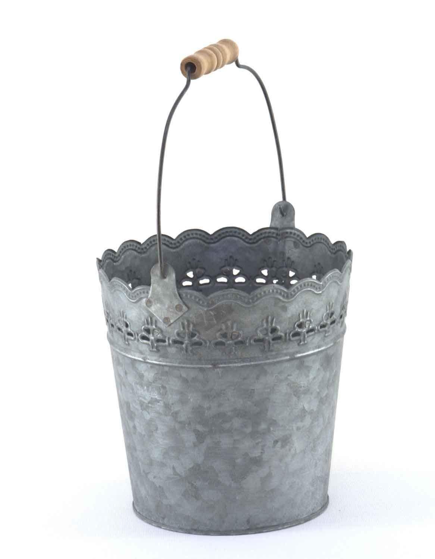 HFG Deko-Eimer aus Zink D 13,5 cm dunkelgrau Pflanzeimer Blumentopf Pflanztopf