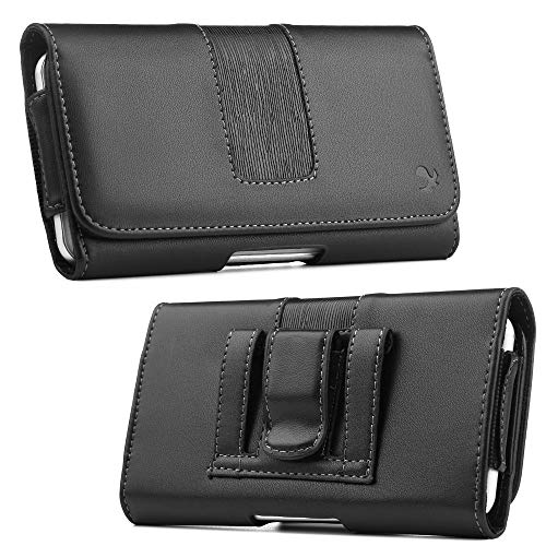 Nokia Carry Case - Luxmo Executive Series Case for Nokia 2V (Verizon), Synthetic PU Leather Belt Holster Phone Carry Pouch and Atom Cloth for Nokia 2V (Verizon) - Black