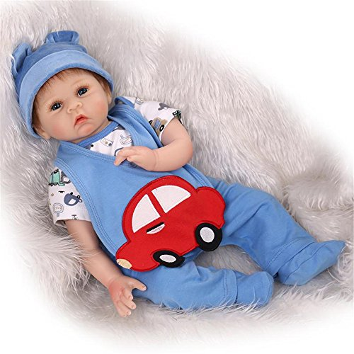 22inch 55cm Reborn Baby Doll Little Red Car Pattern Blue Set Boy Soft Silicone Magnetic Lovely Lifelike Cute Lovely Baby Cute Doll Birthday Gifts Boy&Girl Toys