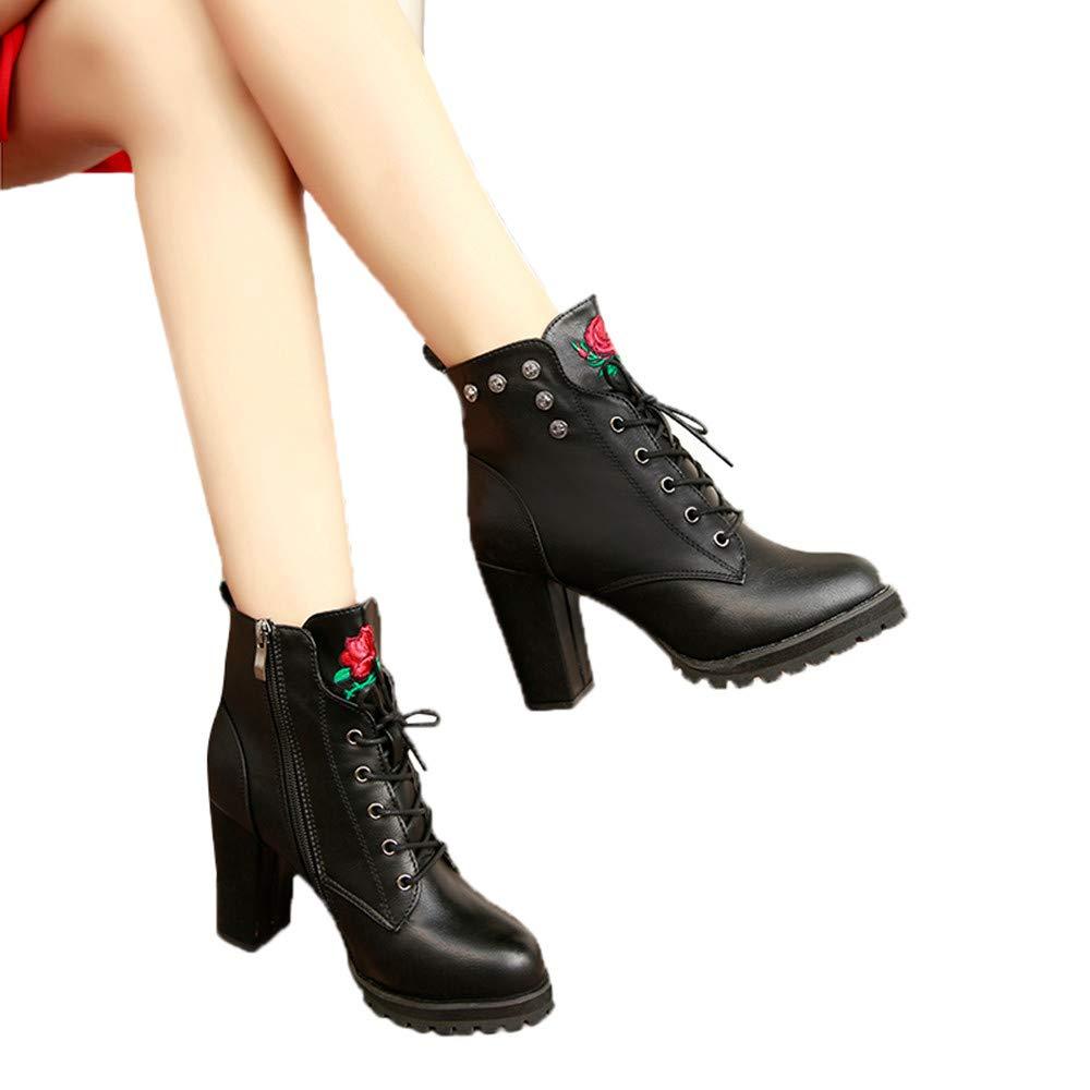 ❤️ Botas de Invierno de Mujer talón, Plataforma de Dedo del pie Mujeres Retro Toe Cremallera Color sólido tacón Grueso Martin Boots otoño Invierno Absolute