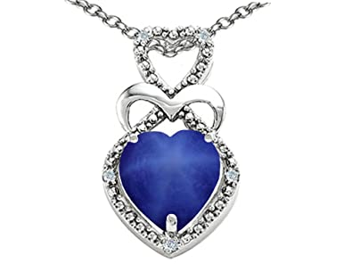 Amazon tommaso design heart shape 8 mm created star sapphire tommaso design heart shape 8 mm created star sapphire pendant necklace 14 kt white gold mozeypictures Choice Image