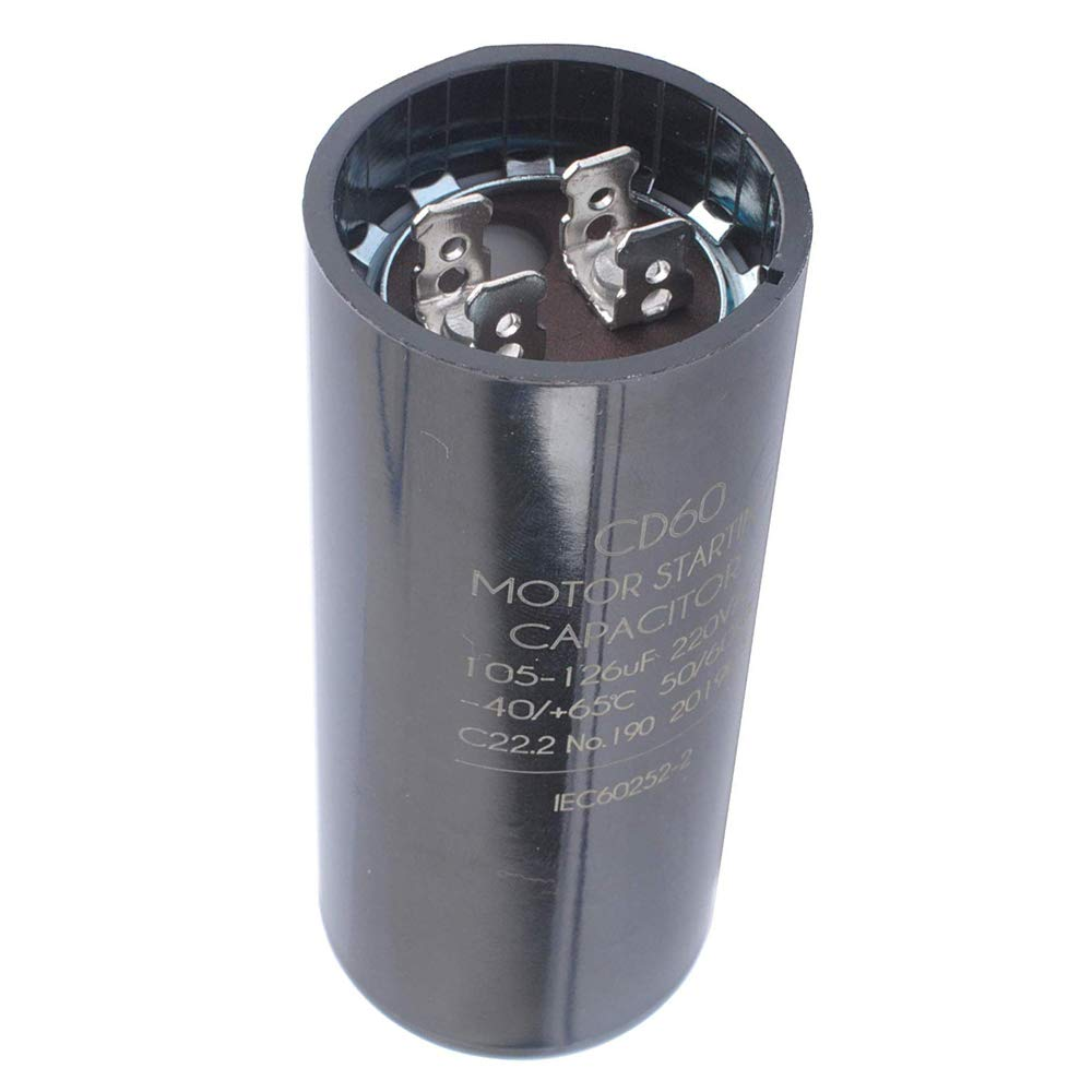 105-126 MFD (uF) 1 0 1 5 and 2 HP Well Pump Control Box Motor Start  Capacitor 275464113 for Franklin 2823008110, 2823018110, 2801084915,  2823018310,