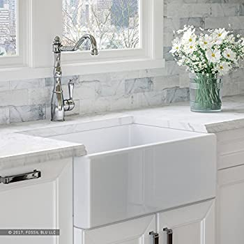 Luxury 30 Inch Pure Fireclay Modern Farmhouse Kitchen Sink In White, Single  Bowl With Flat