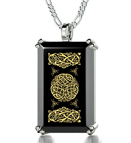 925 Sterling Silver Men's Celtic Knot Necklace Pendant Inscribed in 24k Gold onto a Black Onyx, 20'' by Nano Jewelry