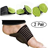 2 Pair Midfoot Arch Support Brace - 4Pcs Thick Cushioned Arch Support with More Padded Comfort for Plantar Fasciitis, Aching, Flat and Painful Feet Pain Relief & Sore (for Men & Women)