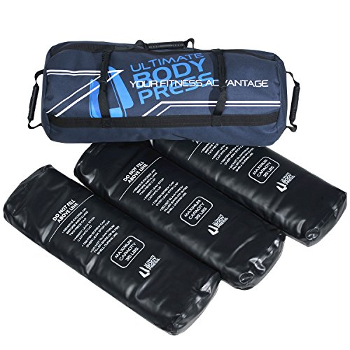 Ultimate Body Press Exercise Sandbag with 3 Water Filler Bags, 50-105 lbs