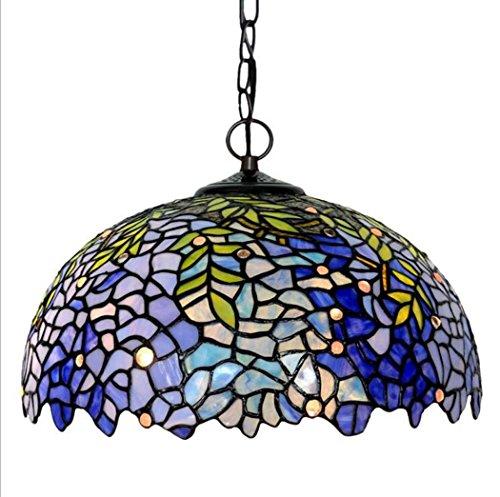 - Tiffany Style Pendant Lamp,16-inch Wisteria Design Glass Chandelier,Living Room Bedroom Pendant Lights
