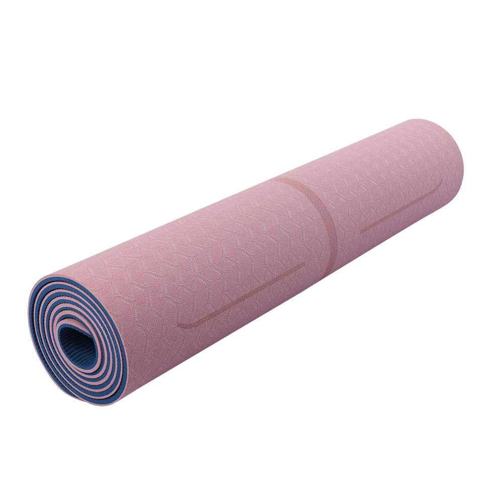 Funihut Yoga Mat Esterilla Antideslizante- TPE Doble Capa De Dos Colores Ambiental Fitness Yoga Mat Unisex Rosa Y Azul, Yoga Esterilla De Gimnasia
