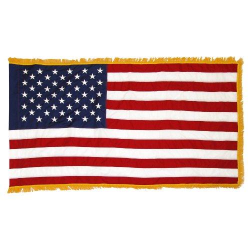 Online Stores Indoor American Nylon Flag, 3 by (Gold Fringe American Flag)