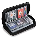 KingFurt Memory Card Holder Pouch Carrying Case / Suitable for SDHC MMC SD CF Cards / 8 Pages and 22 Slots / Microfiber Cleaning Cloth Included (Black)