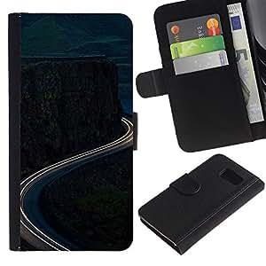 iBinBang / Flip Funda de Cuero Case Cover - Time-Lapse Mountain Road Free - Samsung Galaxy S6 SM-G920