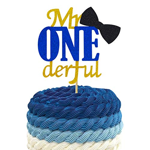 Joymee Mr ONEderful Cake Topper,Double Sided 1st First Cake Decorations with Bowtie Gold Glitter Little Man Happy Birthday Handmade Ornaments -