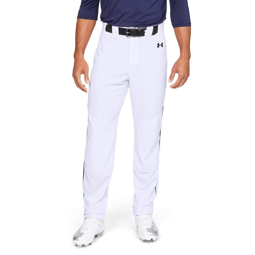 Under Armour Men's Utility Relaxed Piped Baseball Pants, White (100)/Black, 3X-Large by Under Armour