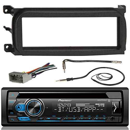 Pioneer DEH-S4100BT Bluetooth CD Car Stereo Audio Receiver - Bundle Combo W/Metra Dash Kit for 1998-Up Chrysler/Dodge/Jeep Vehicles + Antenna Adapter Cable + Radio Wiring Harness + Enrock Antenna