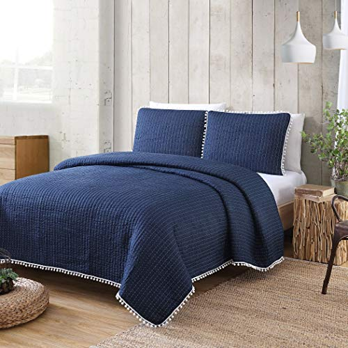 American Home Fashion Estate Collection Costa Brava Pom Pom Quilt Set Grey King 3 Piece