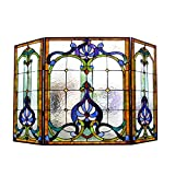 Cheap Chloe Lighting Tiffany-Glass 3pcs Folding Victorian Fireplace Screen Wide, 44″