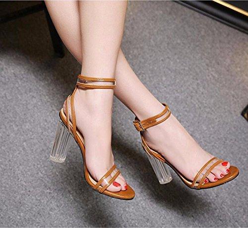GTVERNH summer trasparente alto tacco tacco donna brown crystal alto 39 da tallone sandali scarpe pesante 11cm rU4arHq