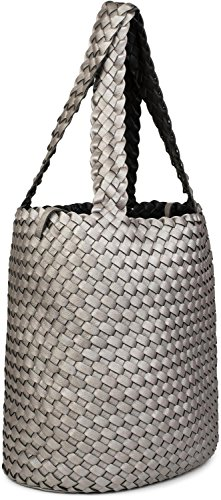 styleBREAKER Color Dark bag in bag woven ladies look shopping bag 02012182 set hand Black bag 2 bag of grey reversible in bag shoulder Antique bags brown Bronze r1On6wRqr