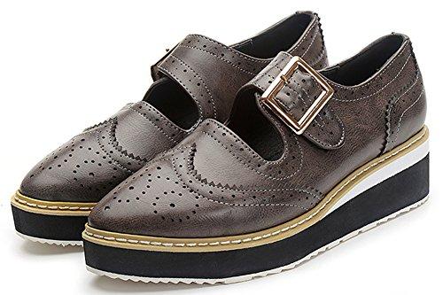 Sfnld Damesmode Puntige Laag Uitgesneden Gesp Oxfords Platform Sleehak Instappers Schoenen Grijs