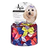 Aria Satin Acetate Ribbon Multicolor Dog Bows Canister, 5/8-Inch, 100-Pack, My Pet Supplies