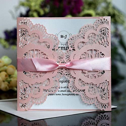 20pcs European Style Wedding Invitation Elegant Pink ()
