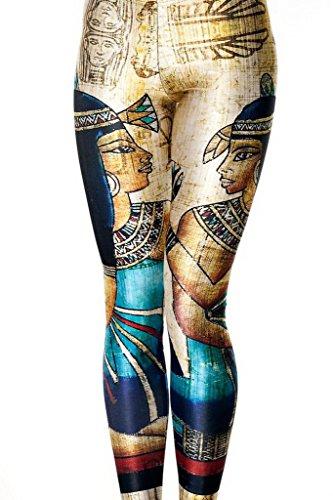 Bigood Legging Collants Femme Pantalon de Crayon Stretch Pharaon Egyptien Cleopatra