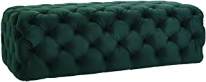 TOV Furniture The Kaylee Collection Modern Style Living Room Jumbo Velvet Upholstered Button Tufted Ottoman, Green