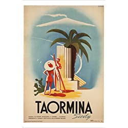 Taormina Sicily VINTAGE TRAVEL POSTER Mario Puppo ITALY 1952 24X36 LOVELY!