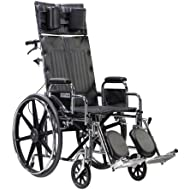 Drive Medical Sentra Reclining Wheelchair with Various Arm Styles and Elevating Legrest, 22 quot;