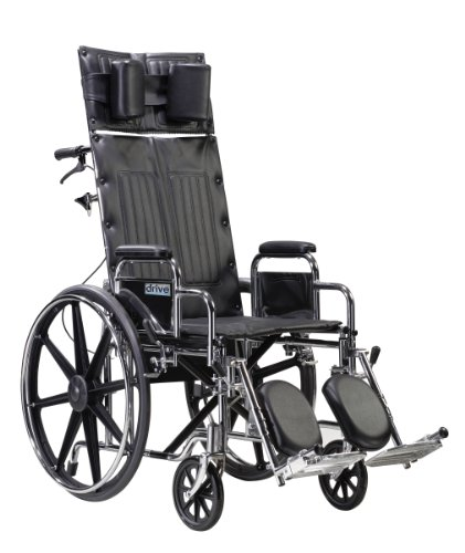 Drive Medical Sentra Reclining Wheelchair with Various Arm Styles and Elevating Legrest, Chrome, 22 Inch