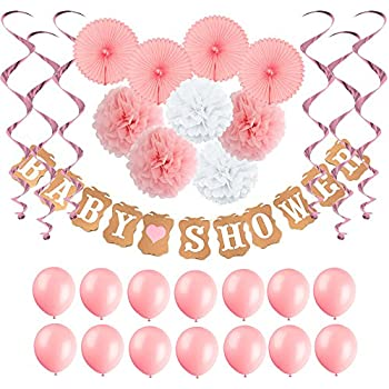 Baby Shower Decorations For Girl,Baby Shower Banner,Tissue Paper Fans,Paper  Pom Poms,Hanging Party Supplies