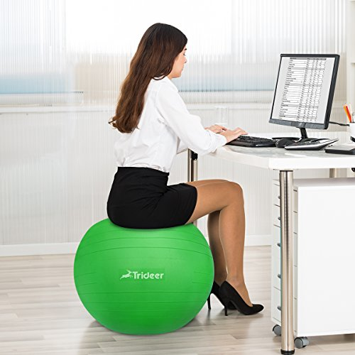 Exercise Ball, Yoga Ball, Birthing Ball with Quick Pump, Anti-Burst & Extra Thick, Heavy Duty Ball Chair 45cm 55cm 65cm 75cm 85cm Stability Ball Supports 2200lbs (Office&Home) (Lime, 45cm) by Trideer (Image #7)