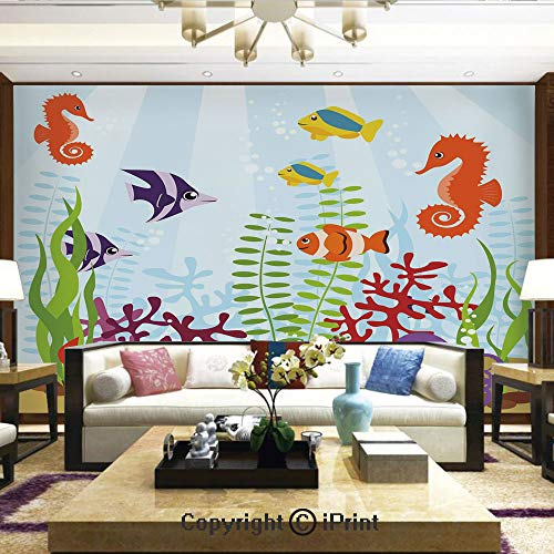 (Wallpaper Nature Poster Art Photo Decor Wall Mural for Living Room,Friendly Sea Animals Tropical Aquatic Habitat Collection Seahorse Crab Octopus Decorative,Home Decor - 66x96 inches)