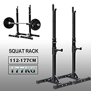 Yaheetech Strength Training Equipment for Barbell Squat/Barbell Bar/Dip Stand